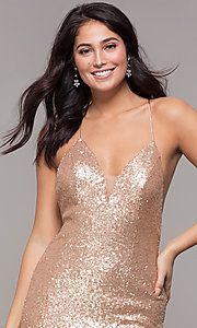 Image of mermaid-style long v-neck sequin formal dress.  Style: ZG-PL-32871 Detail Image 5