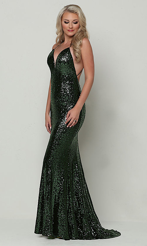 Image of mermaid-style long v-neck sequin formal dress.  Style: ZG-PL-32871 Detail Image 7
