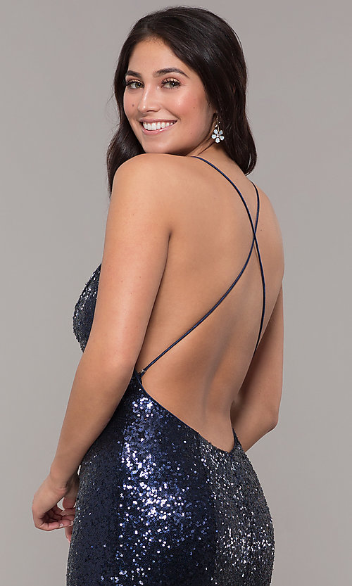 Image of mermaid-style long v-neck sequin formal dress.  Style: ZG-PL-32871 Detail Image 2