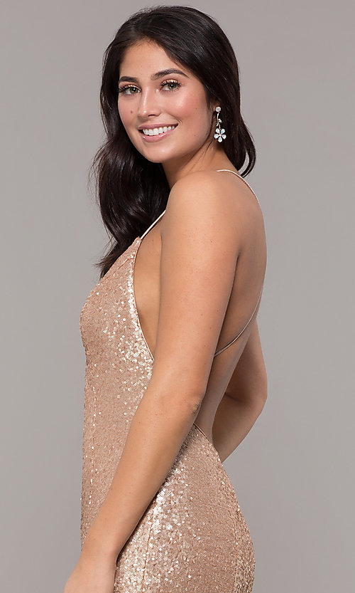 Image of mermaid-style long v-neck sequin formal dress.  Style: ZG-PL-32871 Detail Image 6
