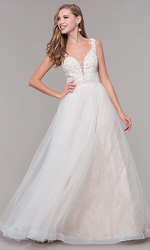 85a42d7b195 Long Ballgown-Style V-Neck Lace Prom Dress