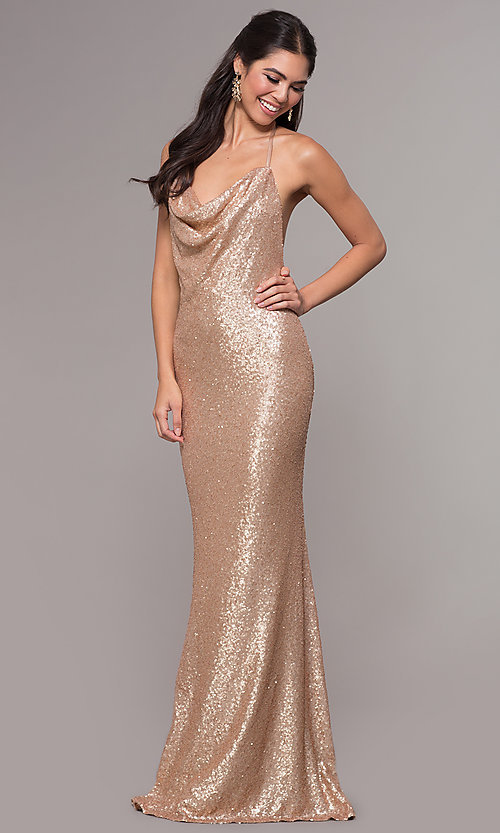8d5b83f4a5b7d Image of cowl-neck long open-back sequin formal prom dress. Style: