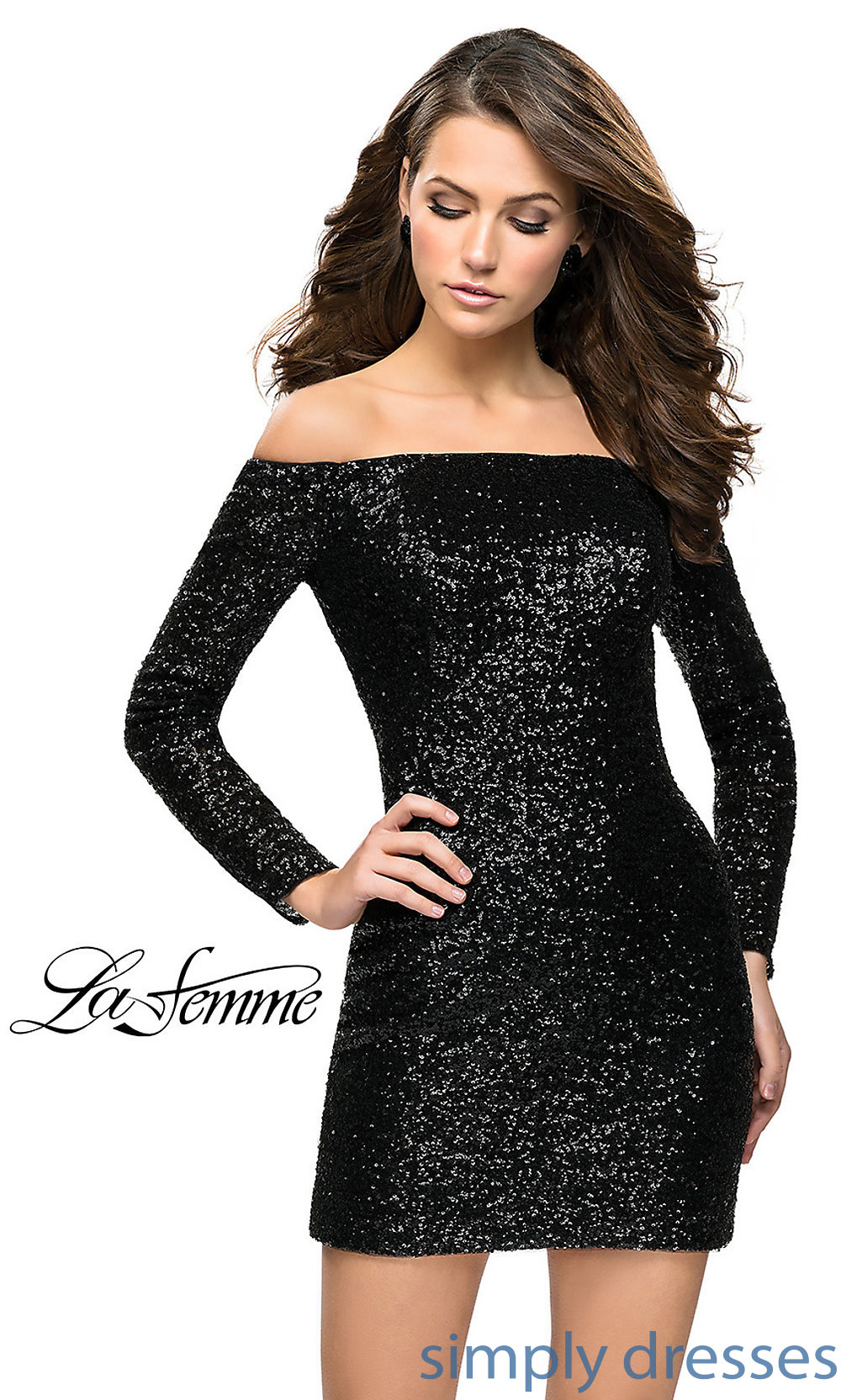77b2e395fd7 Long-Sleeve Black Sequin Homecoming Dress