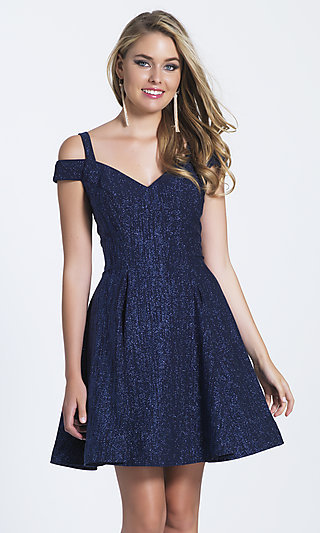 Dave and Johnny V-Neck Glitter Homecoming Dress