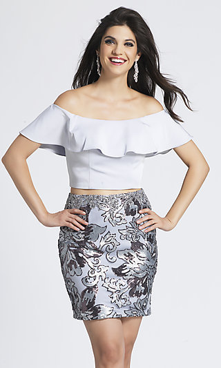 Two-Piece Homecoming Dress with a Sequin Skirt