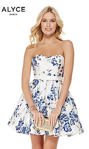 Image of white and blue sweetheart homecoming dress by Alyce. Style: AL-3773 Front Image