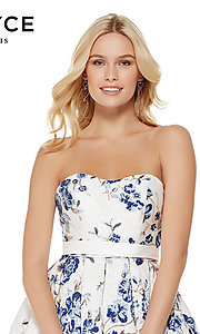 Image of white and blue sweetheart homecoming dress by Alyce. Style: AL-3773 Detail Image 1