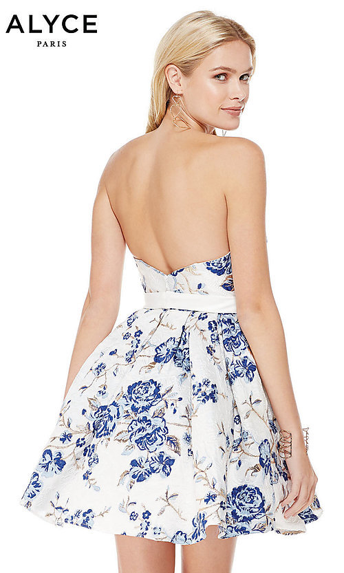 Image of white and blue sweetheart homecoming dress by Alyce. Style: AL-3773 Back Image