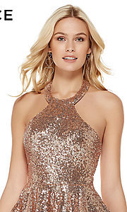 Image of sequin short rose gold halter party dress by Alyce. Style: AL-4056 Detail Image 1