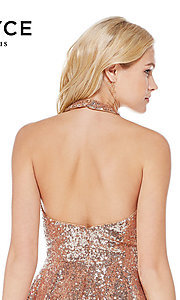 Image of sequin short rose gold halter party dress by Alyce. Style: AL-4056 Detail Image 2