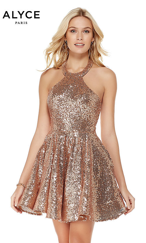 Image of sequin short rose gold halter party dress by Alyce. Style: AL-4056 Front Image