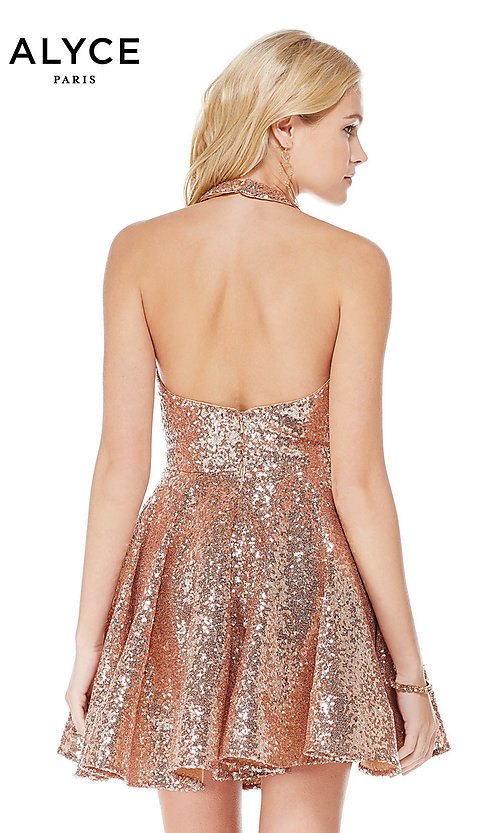 Image of sequin short rose gold halter party dress by Alyce. Style: AL-4056 Back Image