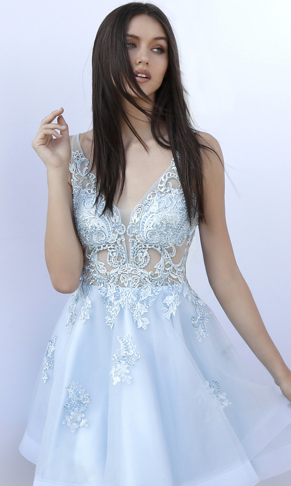 908b296924f JVN by Jovani Short Embroidered Homecoming Dress