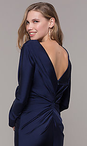 Image of long-sleeve long satin formal dress with train. Style: CD-MA-M257 Detail Image 2