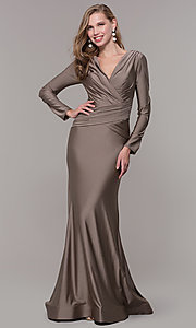 Image of long-sleeve long satin formal dress with train. Style: CD-MA-M257 Detail Image 3
