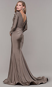 Image of long-sleeve long satin formal dress with train. Style: CD-MA-M257 Detail Image 4