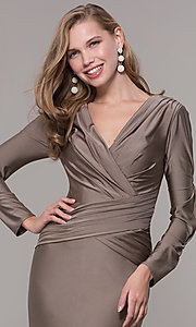 Image of long-sleeve long satin formal dress with train. Style: CD-MA-M257 Detail Image 5