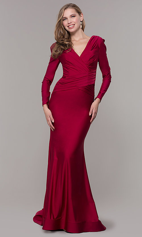 Image of long-sleeve long satin formal dress with train. Style: CD-MA-M257 Detail Image 6