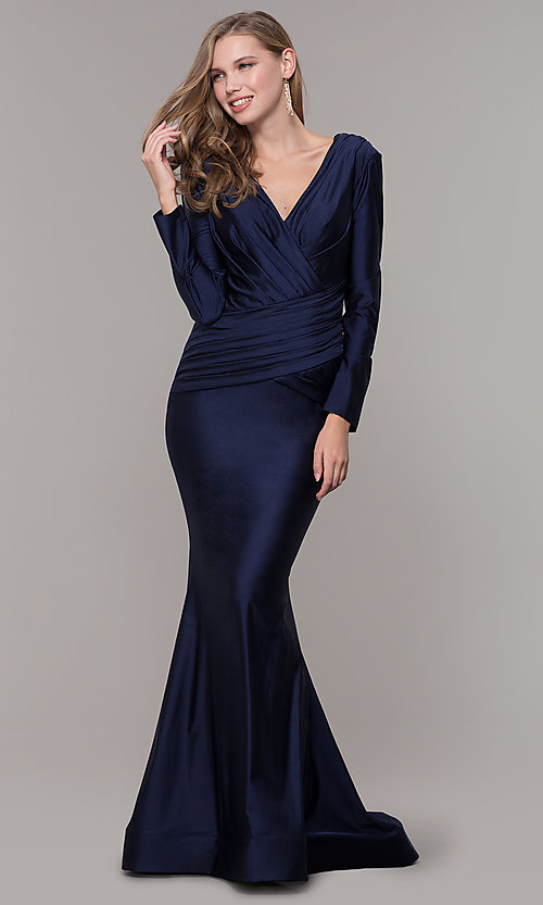 Image of long-sleeve long satin formal dress with train. Style: CD-MA-M257 Front Image