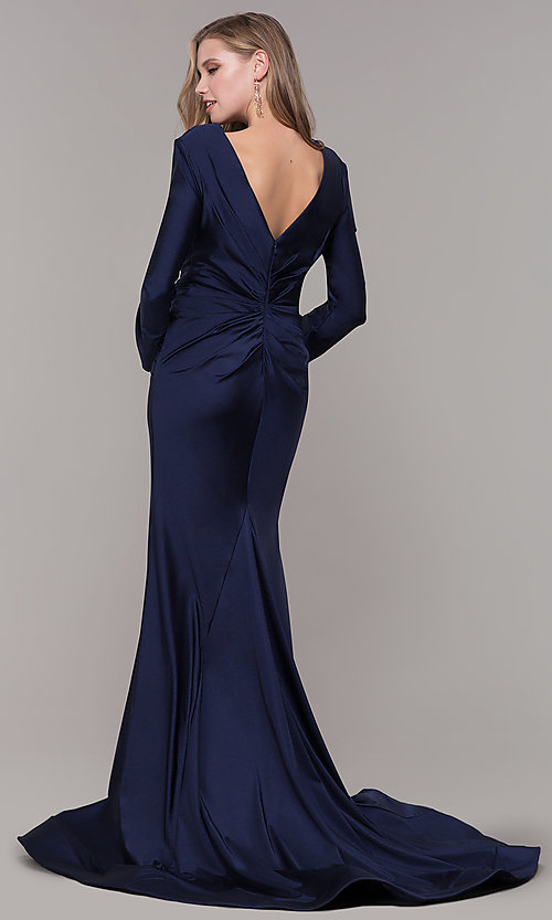 Image of long-sleeve long satin formal dress with train. Style: CD-MA-M257 Back Image