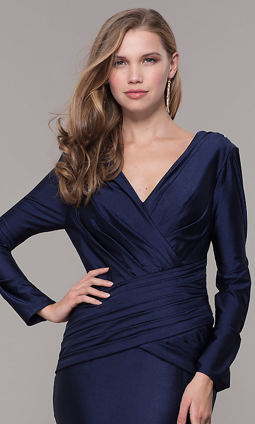 Image of long-sleeve long satin formal dress with train. Style: CD-MA-M257 Detail Image 1