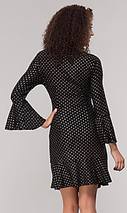Image of long-sleeve short polka-dot holiday dress. Style: ECI-720023-8362A Back Image