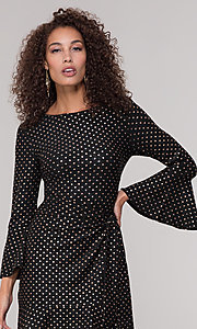 Image of long-sleeve short polka-dot holiday dress. Style: ECI-720023-8362A Detail Image 1