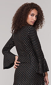 Image of long-sleeve short polka-dot holiday dress. Style: ECI-720023-8362A Detail Image 2