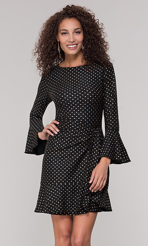 Image of long-sleeve short polka-dot holiday dress. Style: ECI-720023-8362A Front Image