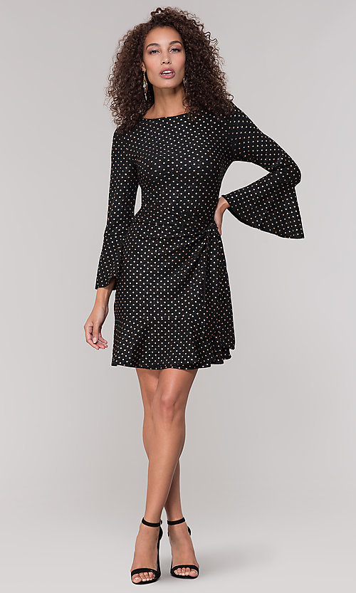 Image of long-sleeve short polka-dot holiday dress. Style: ECI-720023-8362A Detail Image 3