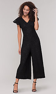 Image of black lace party jumpsuit with wide pant leg. Style: ECI-720280-8268 Front Image