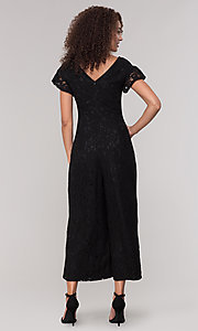 Image of black lace party jumpsuit with wide pant leg. Style: ECI-720280-8268 Back Image