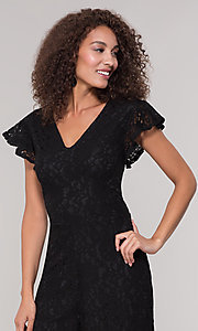 Image of black lace party jumpsuit with wide pant leg. Style: ECI-720280-8268 Detail Image 1