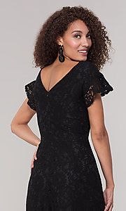 Image of black lace party jumpsuit with wide pant leg. Style: ECI-720280-8268 Detail Image 2