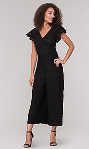 Image of black lace party jumpsuit with wide pant leg. Style: ECI-720280-8268 Detail Image 3