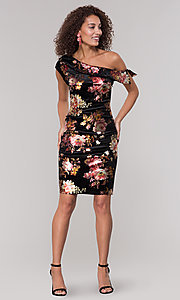 Image of velvet one-shoulder short floral-print holiday dress. Style: ECI-719951-75716 Detail Image 3