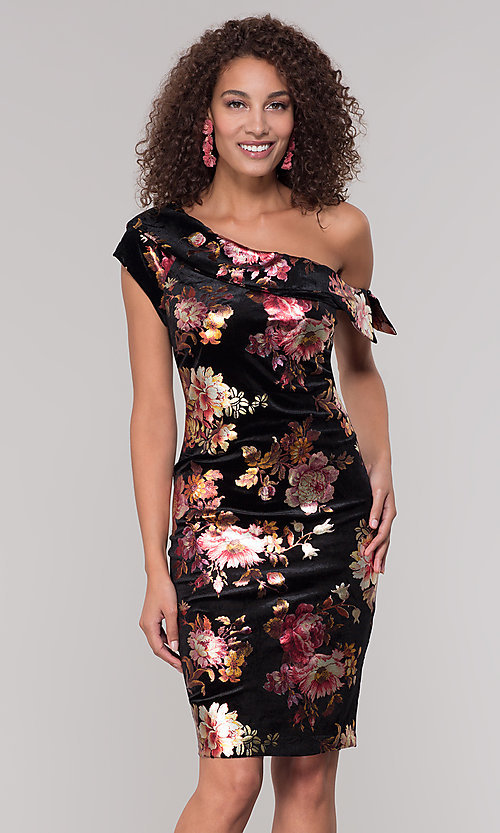 Image of velvet one-shoulder short floral-print holiday dress. Style: ECI-719951-75716 Front Image