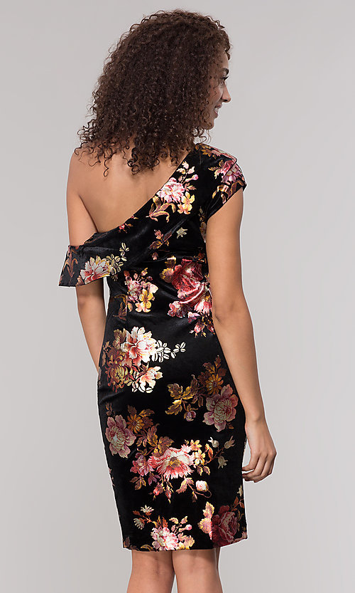 Image of velvet one-shoulder short floral-print holiday dress. Style: ECI-719951-75716 Back Image