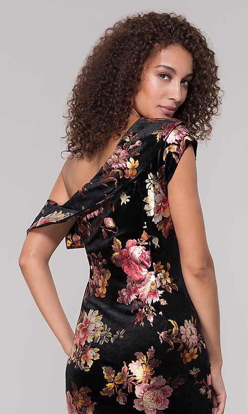 Image of velvet one-shoulder short floral-print holiday dress. Style: ECI-719951-75716 Detail Image 2