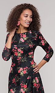 Image of velvet 3/4-sleeve short floral-print party dress. Style: ECI-718776-8302 Detail Image 1