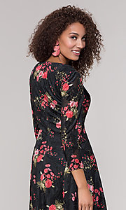 Image of velvet 3/4-sleeve short floral-print party dress. Style: ECI-718776-8302 Detail Image 2
