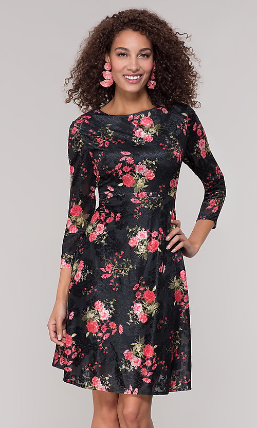 Image of velvet 3/4-sleeve short floral-print party dress. Style: ECI-718776-8302 Front Image