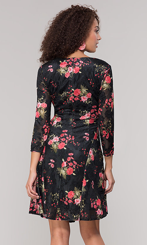 Image of velvet 3/4-sleeve short floral-print party dress. Style: ECI-718776-8302 Back Image