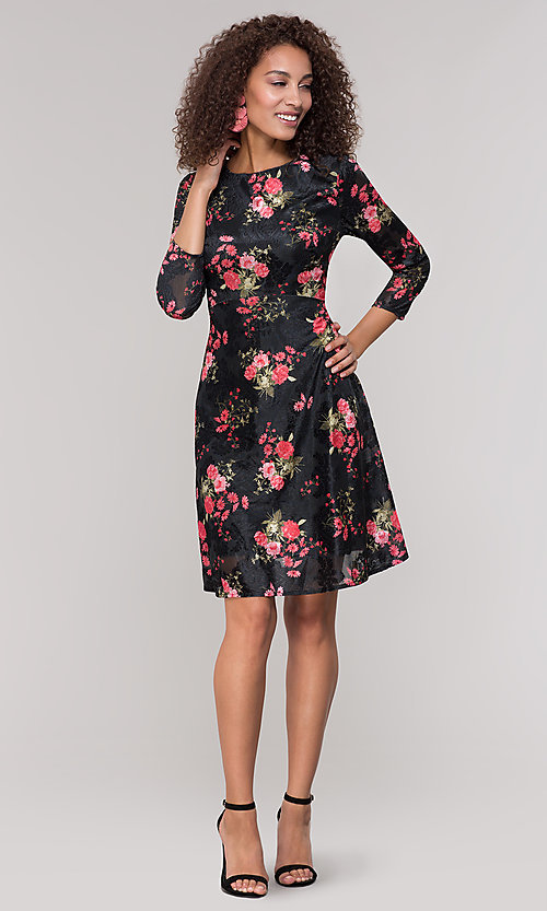 Image of velvet 3/4-sleeve short floral-print party dress. Style: ECI-718776-8302 Detail Image 3