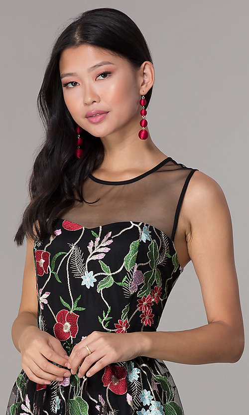 Image of knee-length embroidered-mesh black party dress. Style: ECI-718729-46153 Detail Image 1