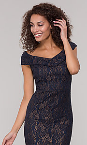Image of knee-length gold and navy lace holiday party dress. Style: ECI-719901-8294 Detail Image 1