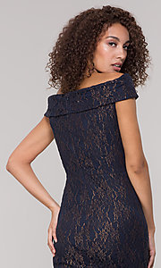Image of knee-length gold and navy lace holiday party dress. Style: ECI-719901-8294 Detail Image 2