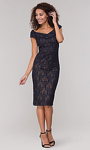 Image of knee-length gold and navy lace holiday party dress. Style: ECI-719901-8294 Detail Image 3