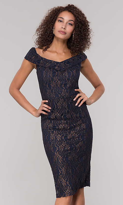 Image of knee-length gold and navy lace holiday party dress. Style: ECI-719901-8294 Front Image