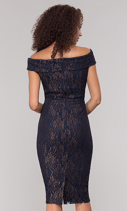 Image of knee-length gold and navy lace holiday party dress. Style: ECI-719901-8294 Back Image